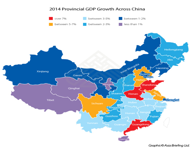 2014 Provincial GDP Growth across China
